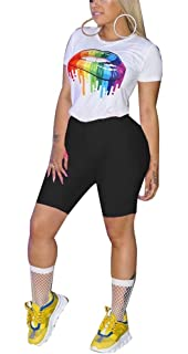 4554ce06657 Women Cute Two Piece Outfits Short Sleeve Crop Top Tshirt Shorts Pants Sets