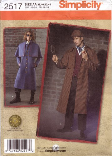 Simplicity Sewing Pattern 2517 Men's Sherlock Holmes Coat & Hat / Civil War (Overcoat Sherlock)