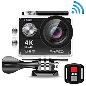 AKASO EK7000 4K Action Camera WIFI Ultra HD Waterproof Camcorder 12MP 170 Degree Wide Angle 2'' LCD Screen/2.4G Remote/Batteries/19 Mounting Kits-Manufacturer Refurbished-Black