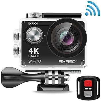 AKASO EK7000 4K Action Camera WIFI Ultra HD Waterproof Camcorder 12MP 170 Degree Wide Angle 2'' LCD Screen/2.4G Remote/Batteries/19 Mounting Kits-Manufacturer Refurbished-Black