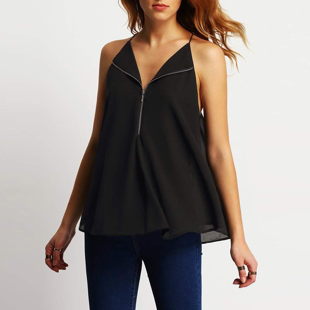 a813742d583 Amazon.com: Women's Zipper V-Neck Shirts,Spaghetti Strap Vest Summer ...