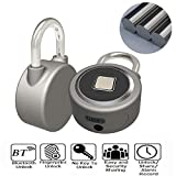 XINDA CCsky Bluetooth Fingerprint Lock Anti-Theft Keyless Lock with USB Charge,Waterproof Portable iOS/Android APP Button Control Smart Remote Lock for Cabinet/Luggage/Backpack/Outdoor