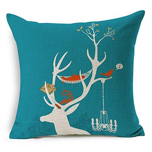 HT&PJ Decorative Cotton Linen Square Throw Pillow Case Cushion Cover Deer Design 18 x 18 Inches