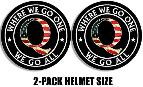 qanon Trump Helmet Size Black Round w USA Q 2 Pack Where We Go One We Go All Sticker