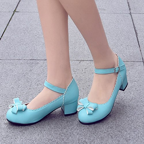 Mee Shoes Women's Cute Bow Buckle Block Heel Mary Janes Blue aEXdm