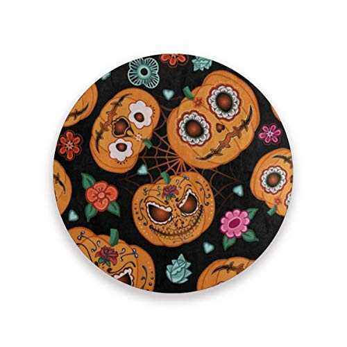 Coasters for Drinks,Hipster Pumpkin Face Halloween Floral Ceramic Round Cork Trivet Heat Resistant Hot Pads Table Cup Mat Coaster-Set of 2 Pieces -