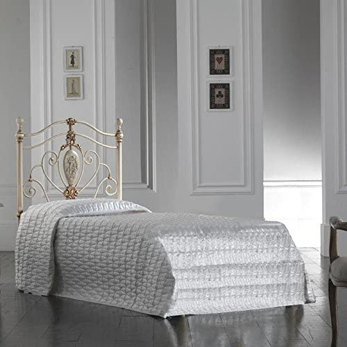 Cama individual de hierro color marfil con cama con somier ...