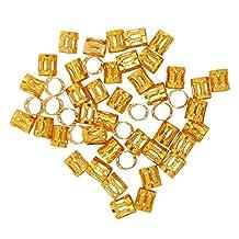 Phenovo 50pcs Dread Lock Dreadlock Braiding Beads Cuff Tube Hair Accessories - Golden, Diameter:8mm Length:9mm