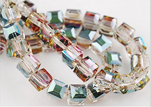 Earrings Cube Clear Crystal 6mm - HYBEADS 50PCS Austria #5601 6mm crystal cube beads (72-84-6)