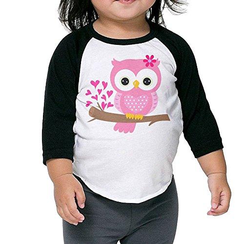 SH-rong Baby Girl Owl On A Branch Kids Baseball Tshirt Size4 Toddler