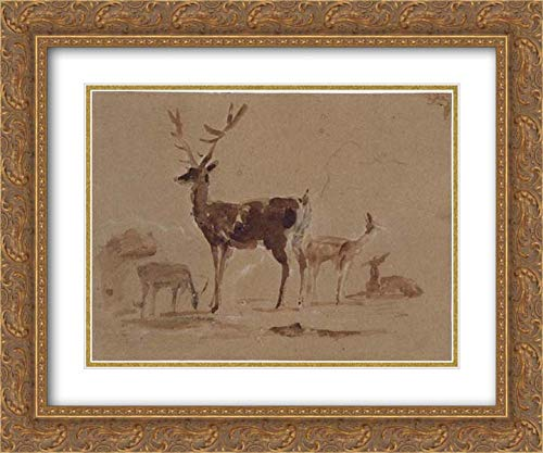 Sir Edwin Henry Landseer - 36x28 Gold Ornate Frame and Double Matted Museum Art Print - Stag and Its Young