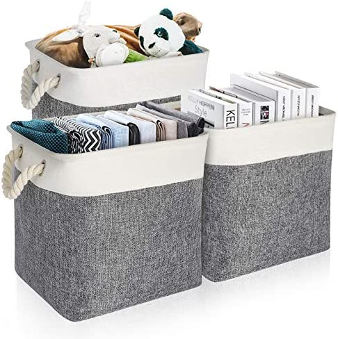 EXTREE Foldable Cube Storage Bins 13x13, Collapsible Closet Cubby Storage Organizer Box 12x12 Inch Decorative Linen Fabric Cloth Square Basket for Storage Shelves, Kid Toys Gray and White