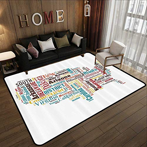 - Floor mats,Americana for Home Decorations Collection,USA United States America Map Cities and Towns California Missouri Virginia,Te 71