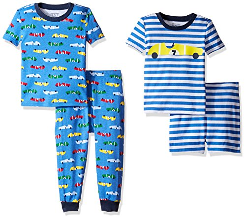 Price comparison product image The Children's Place Baby Boys 4-Piece Pajama Set, Race Car (Fountain Blue) 77312, 3-6 Months