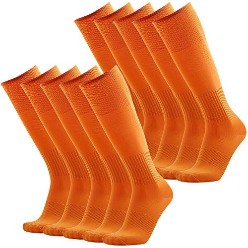 Soccer Socks Knee High, 3street Mens Cushion Moisture Management Baseball Football Workour Long Socks Orange 10 - Burnt Football 12 Orange