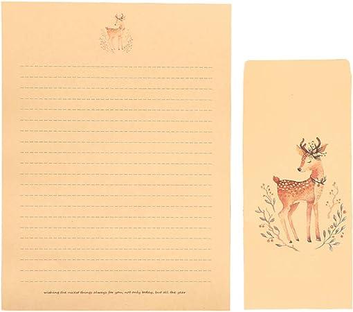 1 Set #1 Wonque Meraviglioso Stile Elegante Carta da Lettere Set per Biglietti Regalo di Natale Alce Carta da Lettere