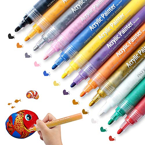 Paint Pens for Rock Painting, Ceramic, Stone, Wood, Glass, Fabric, Easter Eggs, Canvas, Plastic, Craft Project Supplies, Set of 12 Medium Tip Permanent Acrylic Paint Markers Water Resistant ()