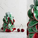 Christmas Tree Decorative Carved Candle - Happy New Year Holidays - Red Green and White - EveCandles