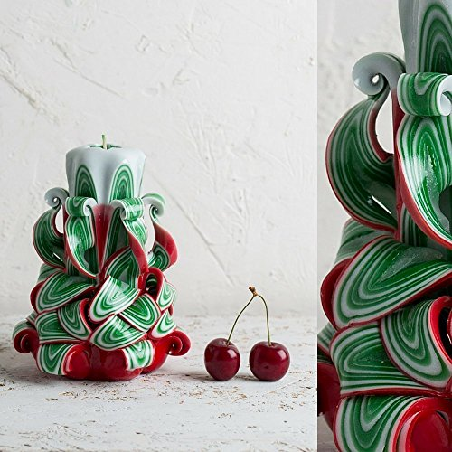 (Christmas Tree Decorative Carved Candle - Happy New Year Holidays - Red Green and White - EveCandles)