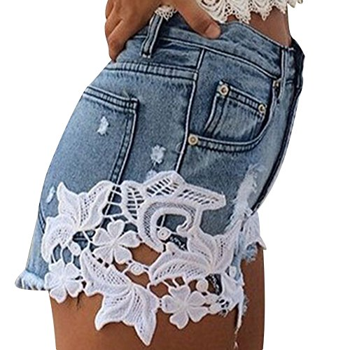 Cortos Rasgado Dril Cortocircuitos Calientes Jeans Mujeres Pantalones Cintura Alta Agujero Moda Azul Playa wRwp16qxzn