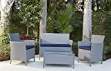 Cosco Outdoor 4 Piece Jamaica Patio Deep Seating Set with Navy Blue Cushion & Gray Resin Wicker