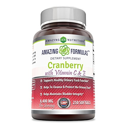 Amazing Formulas - Cranberry with Vitamin C & E Dietary Supplement - 8,400 Milligrams - 250 Softgels - Promotes Healthy Urinary Tract - Promotes a Stronger Bladder