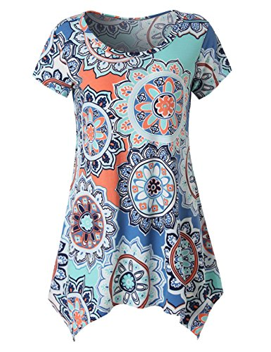 (Zattcas Womens Short Sleeve Flare Tunic Tops Loose Fit Print Summer Tunic Shirt (X-Large, Blue White))