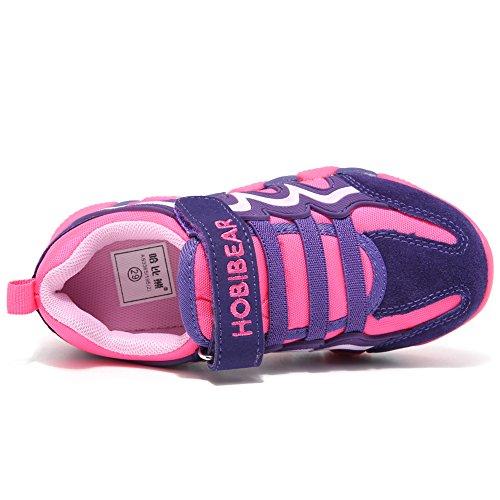 BODATU Boy's Girl's Sneakers Comfortable Running Shoes(Toddler/Little Kid/Big Kid) Fushia/Purple by BODATU (Image #4)