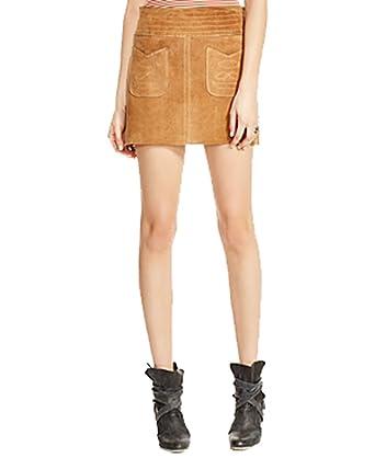 034bbf8e1b Free People Women's Modern Love Suede Skirt, Beige (2) at Amazon ...