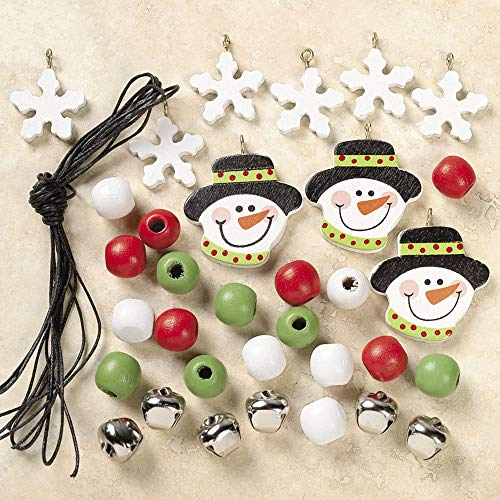Christmas Necklace Craft - (12 Kits) Beaded Snowman Necklace Craft Kits