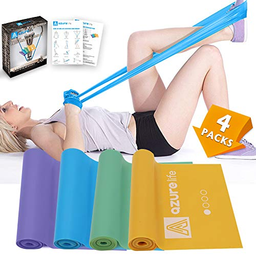 A AZURELIFE Resistance Bands Set, 4 Pack Professional Non-Latex 5 ft. Long Elastic Stretch Bands, 4 Color-Coded Progressive Exercise Bands for Physical Therapy, Yoga, Pilates, Rehab, Home - Flat Bands Therapy