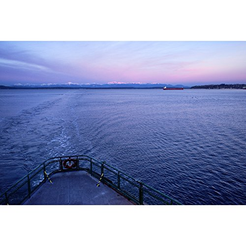 Sunrise on the Olympic Mountains Morning Ferry Ride Seattle Pacific Northwest Fine Art Seascape Photography Print