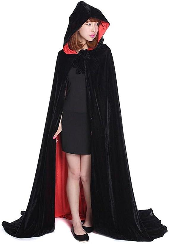 L-Peach Capa Negro y Rojo Doble Cara Encapuchada Disfraz de Gótico ...