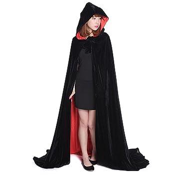 geniales capa negro rojo de doble cara encapuchada disfraz de gtico diablo demonio pirata vampiro para