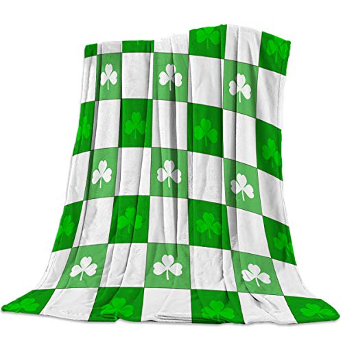 Cozy Warm Lightweight Microfiber Throw Blankets,Soft Reversible Flannel Fleece Plaid Grid Celtic Fashion Clover Classical Irish Culture Inspiration, Luxury Travel Camping Blankets for Girls/Boys/Couch ()