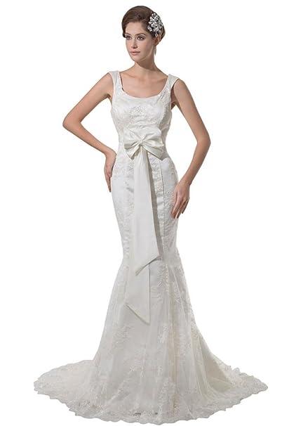 Moderno, diseño de sirena vestido de novia de encaje con lazo blanco Marfil 4