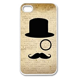 Apple iPhone 5 5G Like a Sir mustache monocle Design SLIM WHITE Sides Case Cover Skin Mobile Phone Accessory Faceplate Retro Vintage Comes in Case Cartel Packaging