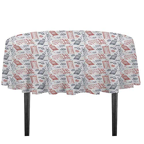 kangkaishi London Washable Tablecloth Popular English Icons Collection Country Culture Tourist Attraction Desktop Protection pad D43.3 Inch Dark Blue Vermilion White -