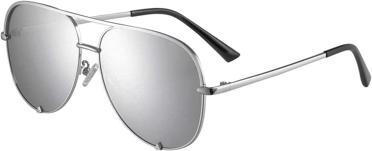 Eyerno Mirrored Aviator Sunglasses For Men Women Fashion Designer UV400 Sun Glasses