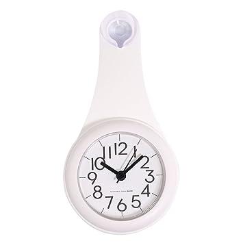 TXXCI Badezimmer Wasserdicht Wanduhr Uhr Saugnäpfe Nicht Tickende  Badezimmeruhr   Weiß