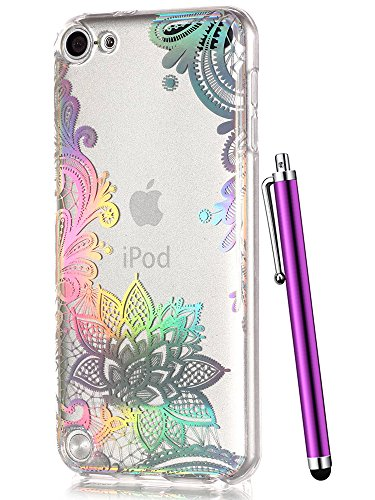 Cute iPod 6 Case,Clear iPod Touch Case for Girls,iPod 5 Case,CAIYUNL Floral Henna Flower Design Soft TPU Slim Silicone Bumper Protective Back Cover Woman Kids for Apple iPod Touch 6th Generation&Stylu