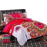 LELVA Bohemia Bedding King Ethnic Vintage Floral Duvet Cover with Flat Sheet 100% Brushed Cotton Boho Bedspread Romantic Bedclothes 4Pcs