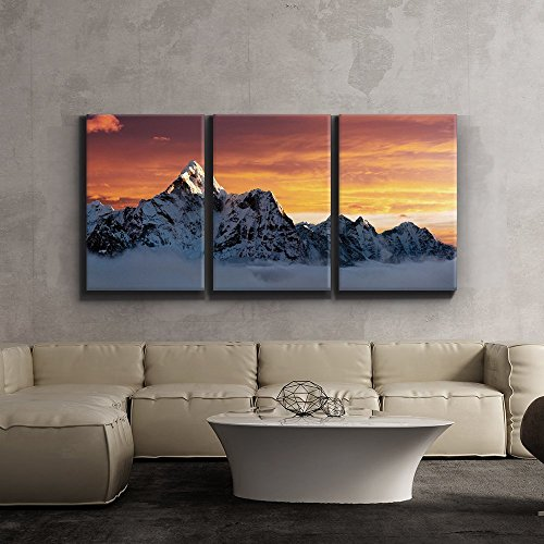 Print Contemporary Art Wall Decor AMA Dablam on The Way to Everest Artwork Wood Stretcher Bars x3 Panels
