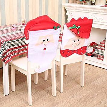 Couverture de Chaise p/ère no/ël Bonnet de Chaise No/ël Christmas Chair Cover pour D/écoration de No/ël D/îner Party-Chapeau de Chaise No/ël d/écoration de f/ête de No/ël Ideapark Housse de Chaise Noel