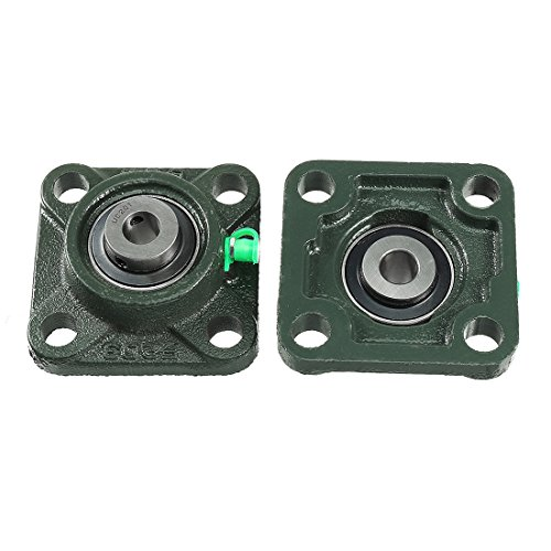(uxcell 2pcs Pillow Block Bearing UCF201 12mm Mounted Bear Square Flange)