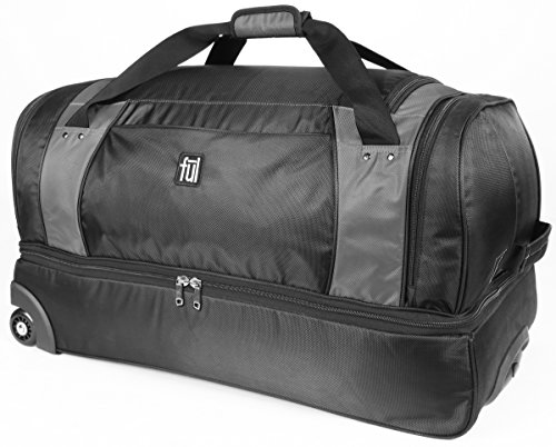 ful Xpedition 30in Rolling Retractable Pull Handle Duffel Bag, Black/Grey, One Size by Ful