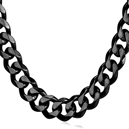 U7 Men Heavy Chain Hip-hop Jewelry Black Steel Curb Link Necklace 12mm - Heavy Link Chain