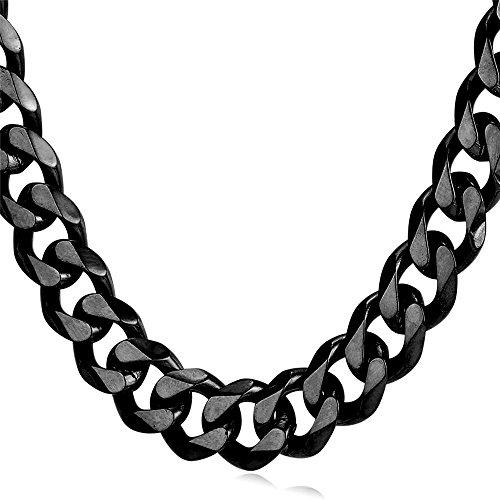 U7 Men Heavy Chain Hip-hop Jewelry Black Steel Curb Link Necklace 12mm