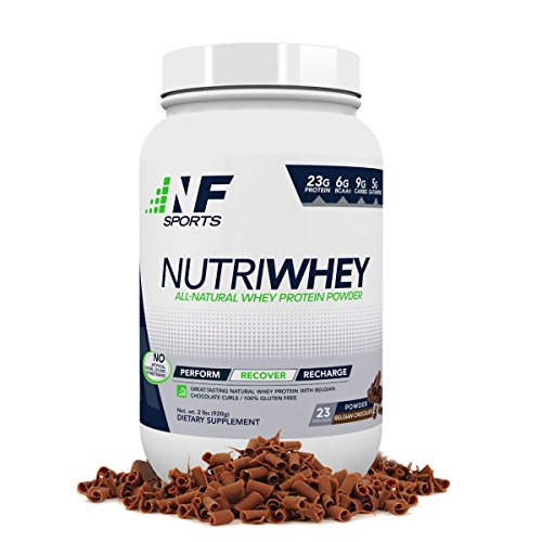NF Sports NutriWhey - All-Natural Whey Protein Powder That Improves Post-Workout Recovery and Muscle Repair - Belgian Chocolate Flavor - 100% Satisfaction Guaranteed - 23 Servings