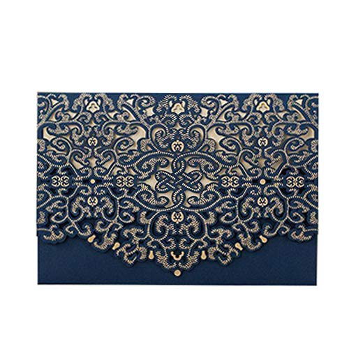 PONATIA 25pcs/Lot Luxury Laser Cut Invitations Cards Kits Flora Invitation Cardstock Packs with Envelope and Adhesive Seals for Engagement Wedding Party (Navy Blue)
